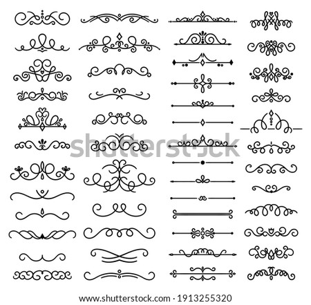 Collection decorative swirls, dividers. Vector calligraphic objects for wedding invitation, greeting card and certificate design. Set of classic lines and borders. Set of vector illustrations