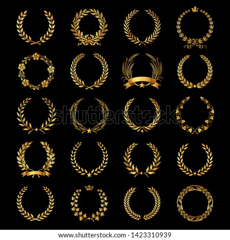 Collection Different Golden Silhouette Laurel Foliate  Stock Vector