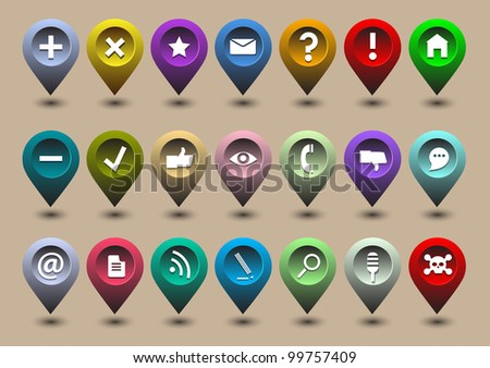 Collection different web icons in the form of GPS icons
