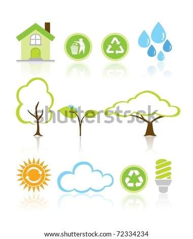 Collection Eco Design Elements Isolated Vector Illustration