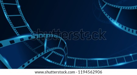 Collection film strip frame isolated on blue background. Old cinema banner with stripe roll. Art design reel cinema filmstrip template. Vector illustration