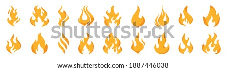 Collection flames of different shapes. Set of Burning Fire, flames vector icons. Red and orange fire flame. Flame, Fire Vector signs. Flames icons. Energy and power. Hot flaming