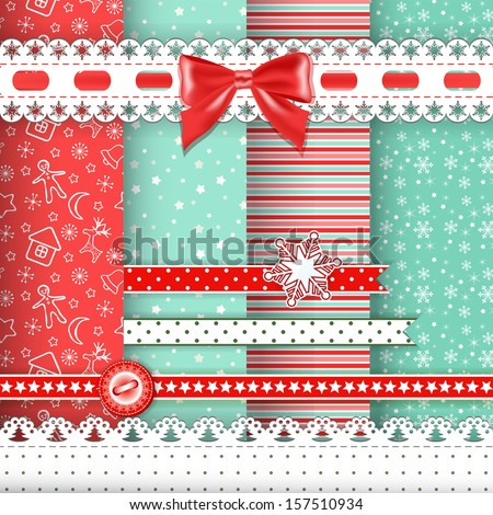 Collection for scrapbook Red-green seamless and borders Vector illustration
