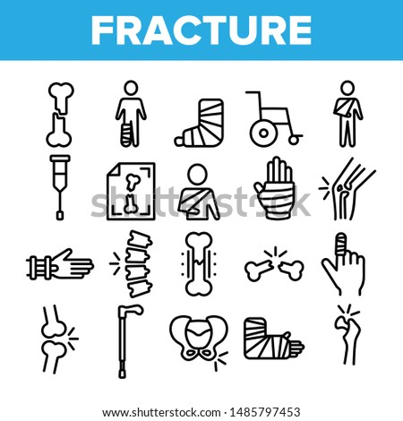 Collection Fracture Elements Vector Sign Icons Set Thin Line. Gypsum Foot And Hand Arm Crutch, Bones Fracture Linear Pictograms. Medicine Details And Character Monochrome Contour Illustrations