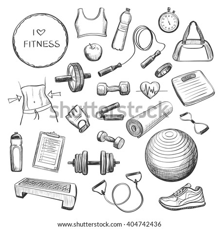 Collection freehand drawing sketches on fitness . Accessories , fitness equipment , clothing for sports . Isolating objects on a white background .