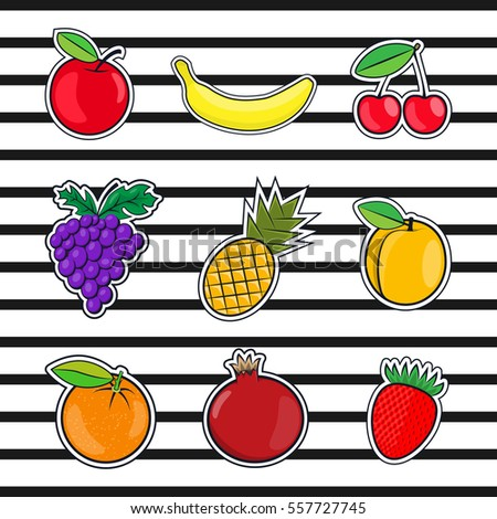 Collection fruits icons in a flat style of pop art. Colorful summer fruit, vector illustration on the theme of healthy food, organic food for your Projects summary.