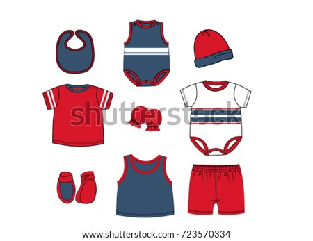 Collection Gift Set Baby Boy Clothes Design Template Red White Navy