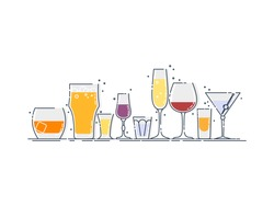 Collection glassware alcoholic drinks. Alcohol glass stand in row. Illustration isolated. Flat design style with color fill. Beer champagne wine whiskey liquor vodka martini whiskey rum tequila.