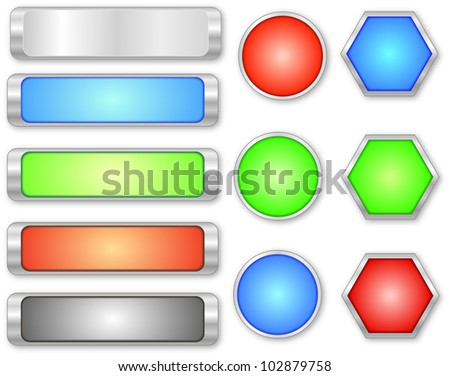 Collection  glossy buttons in various colors
