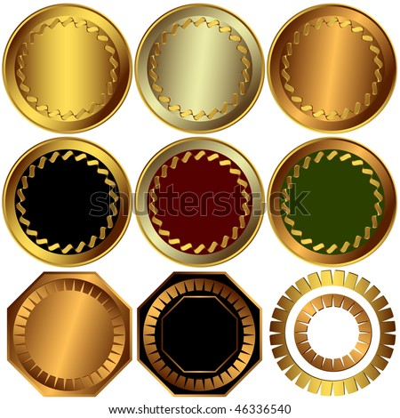 Collection gold, silver and bronze awards on white background (vector)