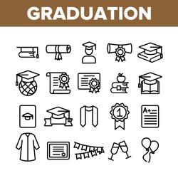 Collection Graduation Thin Line Icons Set Vector. Certificate And Diploma, School, College Or University Graduation Elements Linear Pictograms. Academic Details Monochrome Contour Illustrations