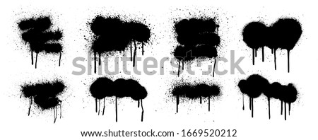 Collection graffiti stencil banner. Isolated collection with high level tracing. Vector spray paint shapes with smudges and drops. Street art template. Graffiti mockups, Spray set. Vector illustration
