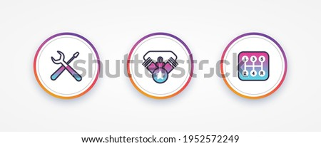 Collection graphic icons template. Sign: tool, engine, transmission. Icons for social networks. Vector illustration. EPS 10
