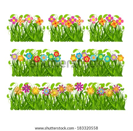 Collection grass and flowers #183320558