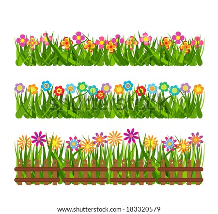 Collection grass and flowers #183320579