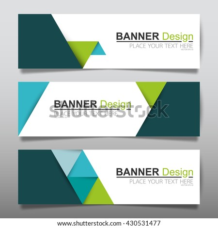 Collection green and blue horizontal business banner set templates. clean modern geometric abstract background layout for website design. simple creative cover header. in rectangle size.