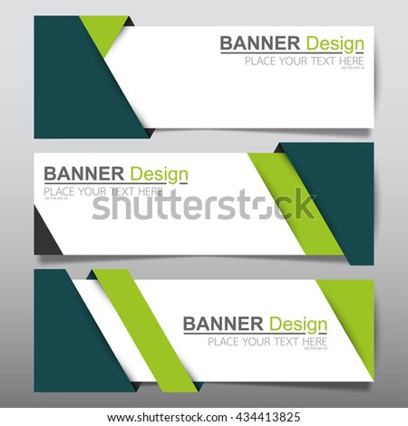 Collection green fold horizontal business banner set vector templates. clean modern geometric abstract background layout for website design. simple creative cover header. in rectangle size