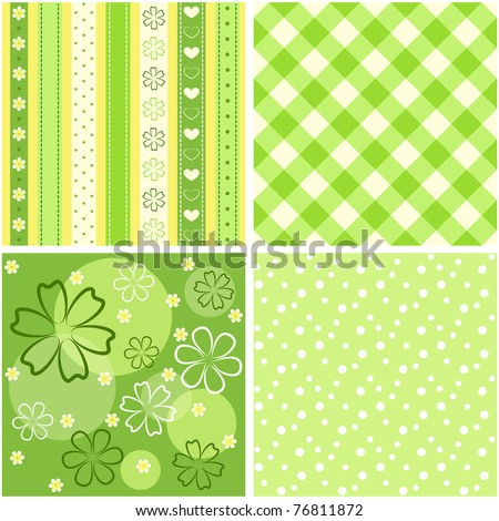 Collection green seamless. Vector illustration.