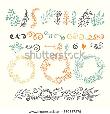 collection hand-sketched elements - floral, calligraphic elements, arrows, wreaths