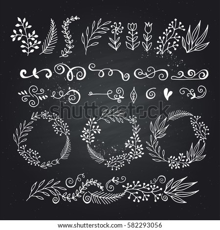 collection hand-sketched elements - florals, calligraphic elements, arrows, wreaths
