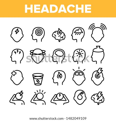 Collection Headache Elements Icons Set Vector Thin Line. Migraine Brain, Tension And Cluster Headache Symptom Linear Pictograms. Head Medical Problem Monochrome Contour Illustrations
