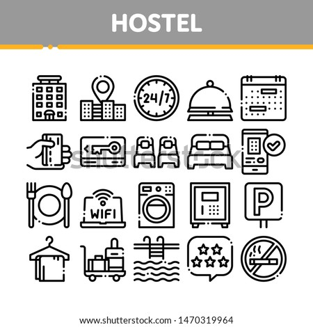 Collection Hostel Elements Vector Sign Icons Set. Building Hostel And Location, Calendar And Parking Symbol, Bed And Laundry Machine Linear Pictograms. Wifi Internet Black Contour Illustrations