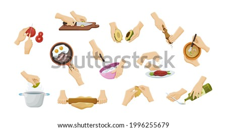 Collection human hands preparing food. Cooking utensils with soup, eggs, meat, baking, cutting vegetables and sprinkle spices. Prepare ingredients use cutlery, culinary accessories vector illustration Foto stock ©