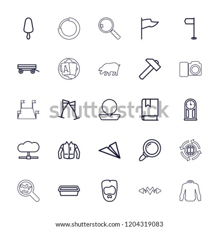Collection icon. collection of 25 collection outline icons such as barrow, man hairstyle, powder, jacket, hummer, flag. editable collection icons for web and mobile.