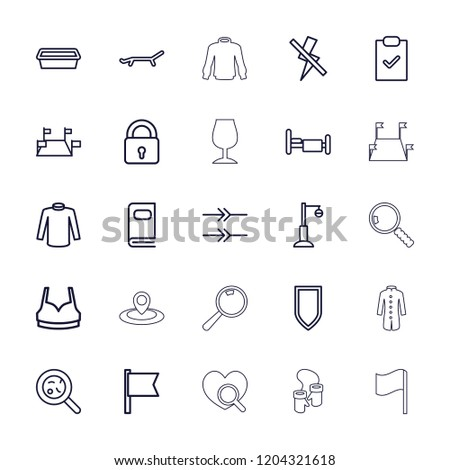 Collection icon. collection of 25 collection outline icons such as lock, sport bra, sweater, pot for plants, street lamp. editable collection icons for web and mobile.