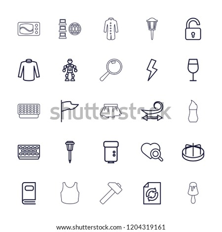 Collection icon. collection of 25 collection outline icons such as opened lock, child playground carousel, curly hair, cocktail. editable collection icons for web and mobile.