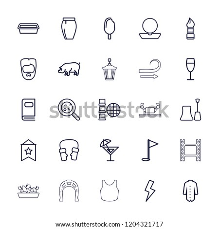 Collection icon. collection of 25 collection outline icons such as pig, brush, man hairstyle, powder, nail polish, skirt. editable collection icons for web and mobile.