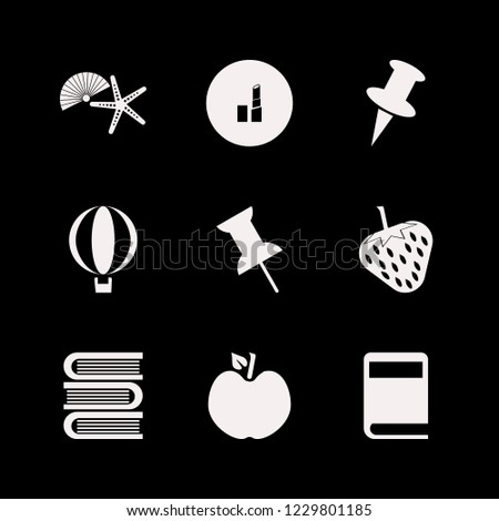 collection icon. collection vector icons set balloon, apple, strawberry and book