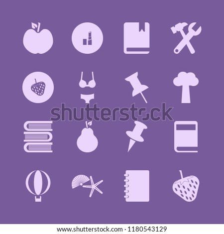 collection icon. collection vector icons set balloon, book, shell starfish and apple