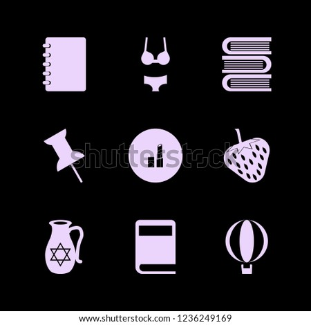 collection icon. collection vector icons set books, balloon, woman underwear and notebook