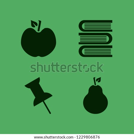 collection icon. collection vector icons set books, pear, push pin and apple