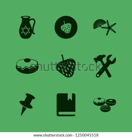 collection icon. collection vector icons set doughnut, jug with star of david, wrench hammer and push pin