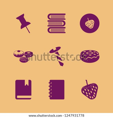 collection icon. collection vector icons set doughnut, screw, strawberry and book