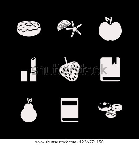collection icon. collection vector icons set doughnut, shell starfish, book and apple