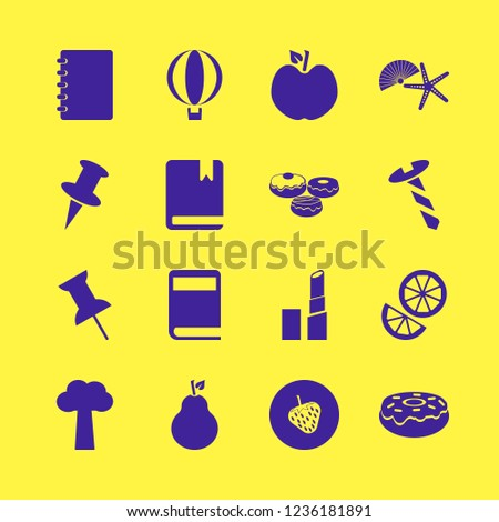 collection icon. collection vector icons set doughnuts, shell starfish, apple and book