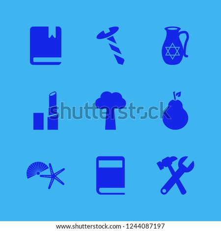 collection icon. collection vector icons set jug with star of david, shell starfish, pear and tree