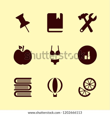 collection icon. collection vector icons set lipstick, push pin, wrench hammer and book