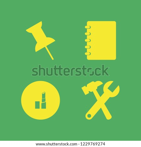 collection icon. collection vector icons set notebook, lipstick, wrench hammer and push pin