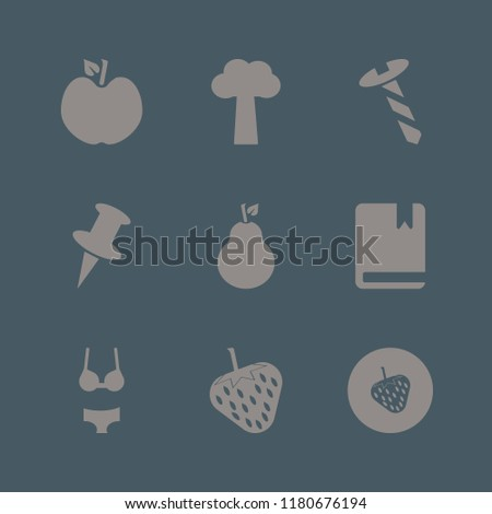collection icon. collection vector icons set push pin, screw, pear and strawberry