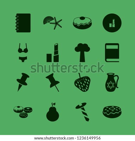 collection icon. collection vector icons set screw, push pin, doughnut and shell starfish