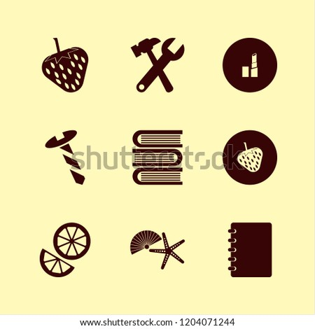 collection icon. collection vector icons set shell starfish, notebook, orange and books