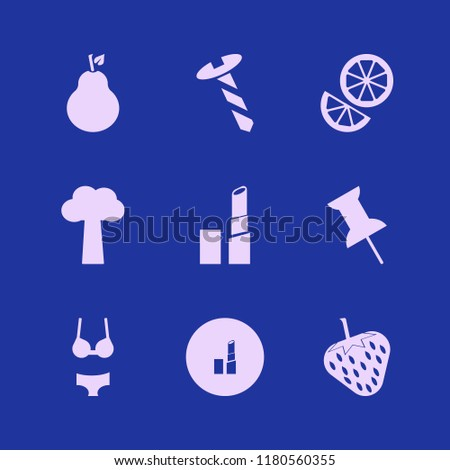 collection icon. collection vector icons set tree, strawberry, orange and pear