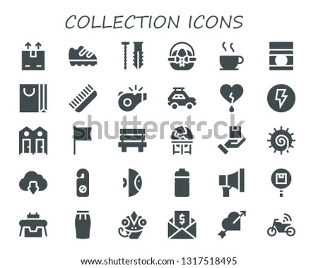 collection icon set. 30 filled collection icons.  Collection Of - Shipping, Shoe, Screw, Easter egg, Chocolate, Baby food, Shopping bag, Comb, Referee, Car, Heart, Electricity