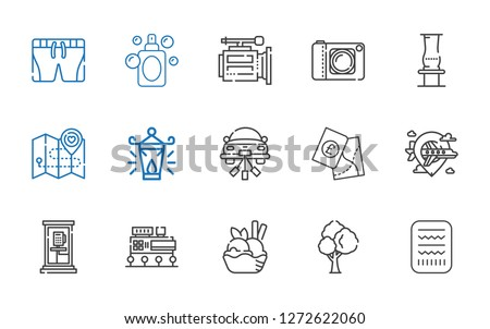 collection icons set. Collection of collection with egypt, tree, ice cream, mall, phone box, airplane, map, wedding car, oil lamp, vase. Editable and scalable collection icons.
