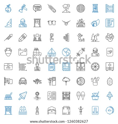 collection icons set. Collection of collection with percentage, hotel, woman, shopping bag, bed, pen, sea, door, startup, laundry, ice cream. Editable and scalable collection icons.