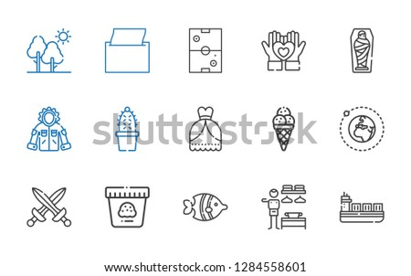 collection icons set. Collection of collection with ship, dressing room, fish, ice cream, swords, earth, wedding dress, cactus, jacket. Editable and scalable collection icons.